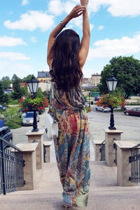 Halter  Printed  Sleeveless Vintage Dress Maxi Dresses Vintage Dress