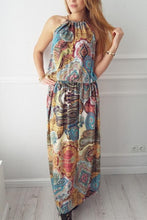 Load image into Gallery viewer, Halter  Printed  Sleeveless Vintage Dress Maxi Dresses Vintage Dress