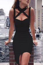Load image into Gallery viewer, Halter  Asymmetric Hem  Hollow Out Plain  Sleeveless Bodycon Dresses