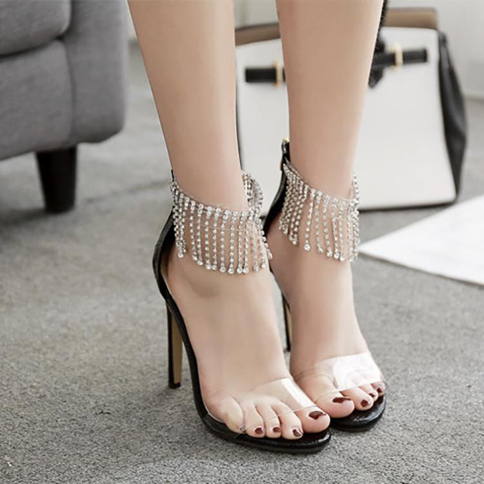 Fashion Rhinestone Hollow Slim High Heels Sandals