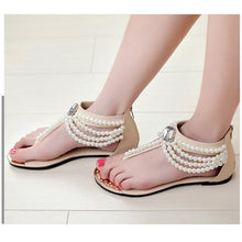 Load image into Gallery viewer, Bohemia Beaded Clip Toe Flat Casual Beach Sandal Shoes