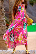 Load image into Gallery viewer, Bohemia Halter Neck Floral Print Vacation Maxi Dress