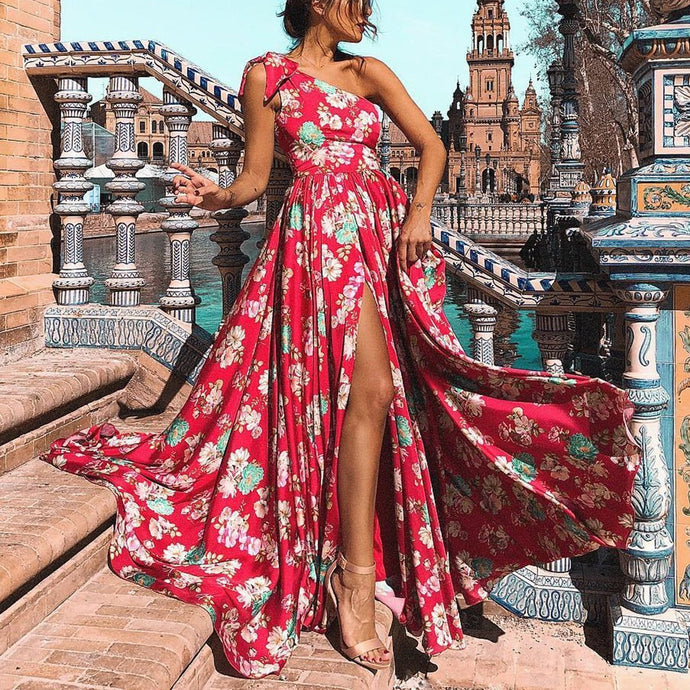 Sexy Floral One Shoulder Vacation Maxi Dress