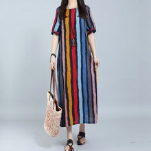 Load image into Gallery viewer, Round Neck Plain Cotton/Linen Striped Maxi Dresses Vintage Dress