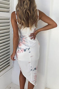Sexy Floral Print Dip Hem Ruched Wrap Bodycon Dress