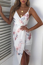 Load image into Gallery viewer, Sexy Floral Print Dip Hem Ruched Wrap Bodycon Dress