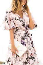 Load image into Gallery viewer, Sexy Short Sleeves Floral Print Vacation Maxi Dress