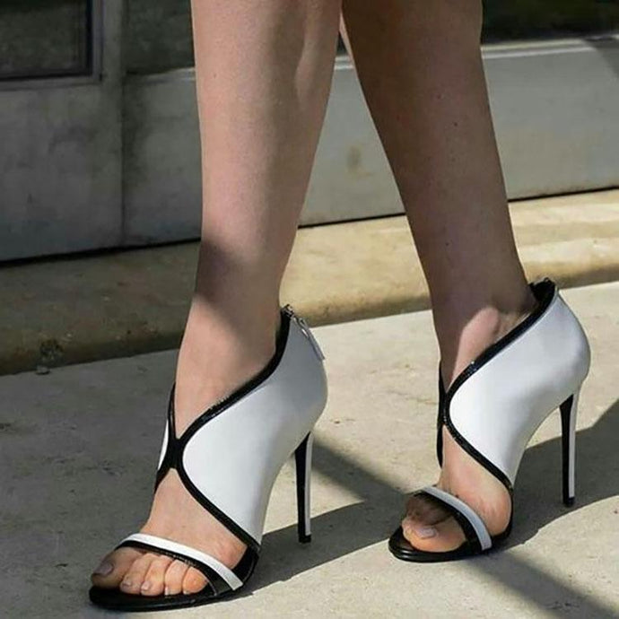 Sexy Black And White High Slim Heels Sandals