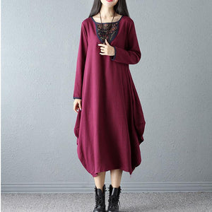 Retro Linen Long Sleeve  Casual Dress Vintage Dress