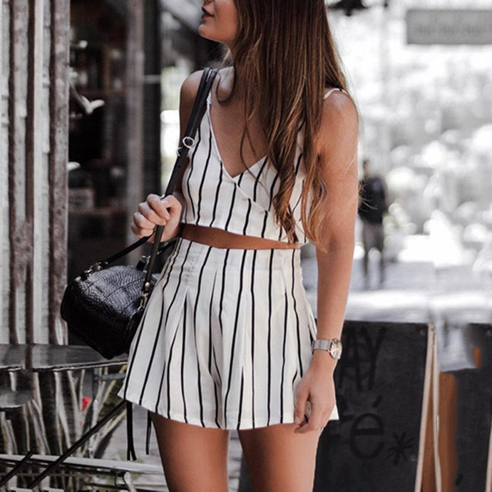Stylish Sexy Stripe Two-Piece Rompers
