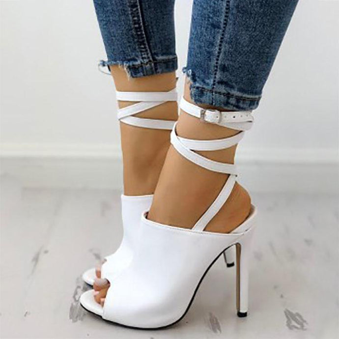 Elegant Pure Color Fish Mouth Slim High Heels Sandals