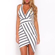 Load image into Gallery viewer, Deep V Neck Sexy Sleeveless Stripe Bodycon Mini Dress