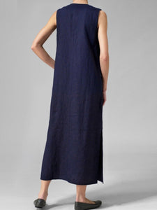 Asymmetric Neck  Decorative Buttons  Plain Maxi Dress Vintage Dress