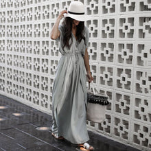 Load image into Gallery viewer, Fashion Gray Short Sleeves Maxi Dress Vintage Dress