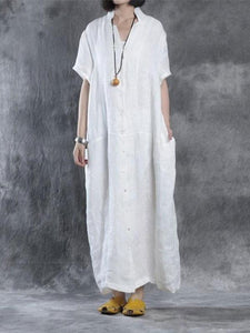Women Summer Loose Fit Retro Linen Maxi Dress Vintage Dress