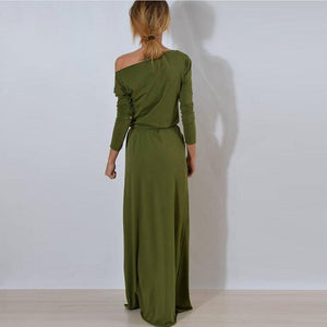 Round Neck Waist Casual Vintage Maxi Dress