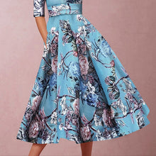 Load image into Gallery viewer, Sexy Lake Blue Half Sleeves Floral Print Skater Dress