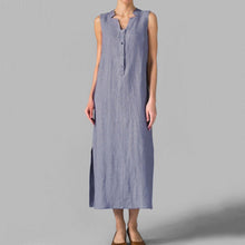Load image into Gallery viewer, Asymmetric Neck  Decorative Buttons  Plain Maxi Dress Vintage Dress