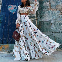 Load image into Gallery viewer, Sexy Off Shoulder Butterflies Floral Printed Maxi Dress