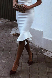Sexy White Sleeveless Plain Fishtail Bodycon Dress