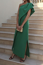 Load image into Gallery viewer, Sexy One Shoulder Green Bow Slit Maxi Dress