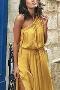 Sexy Yellow One Shoulder Plain Maxi Dress