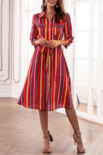 Load image into Gallery viewer, Fashion Stripe Print Casual Vintage Dresses