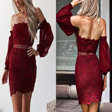 Load image into Gallery viewer, Off Shoulder Sexy Lace Mini Bodycon Dresses