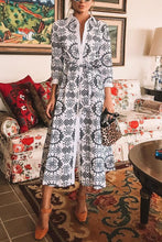 Load image into Gallery viewer, Sexy White Long Sleeves Floral Print Vintage Maxi Dress