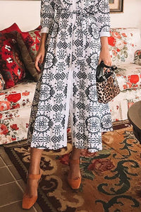 Sexy White Long Sleeves Floral Print Vintage Maxi Dress