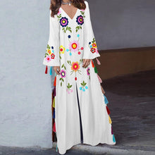 Load image into Gallery viewer, Cotton Vintage Dress Printed V-Neck Bohemian Tassel Maxi Dress