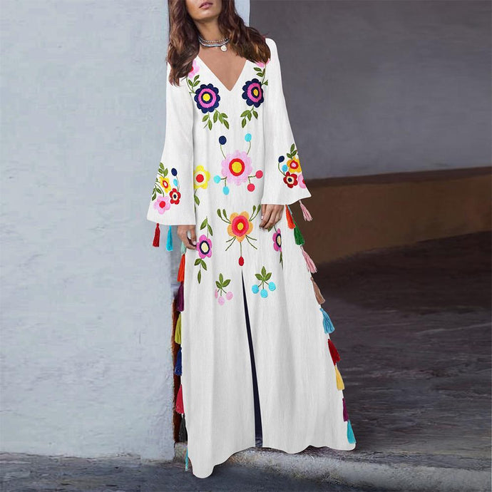 Cotton Vintage Dress Printed V-Neck Bohemian Tassel Maxi Dress