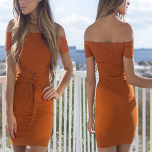 Load image into Gallery viewer, Off Shoulder Sexy Plain Mini Bodycon Dresses