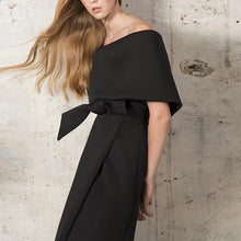 Load image into Gallery viewer, Fashion Off Shoulder Plain Bow Slit Bodycon Dress