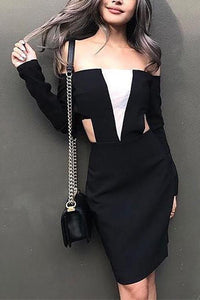 Fashion Boat Neck Zipper Bodycon Dress
