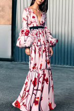 Load image into Gallery viewer, Sexy Floral Print Deep V Collar Puff Long Sleeve Joint Maxi Dress