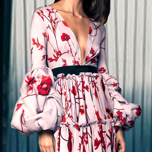Sexy Floral Print Deep V Collar Puff Long Sleeve Joint Maxi Dress