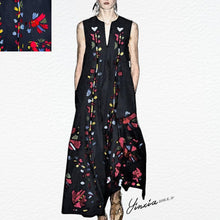Load image into Gallery viewer, V-Neck Cotton/Linen Printed Vintage Maxi Dress