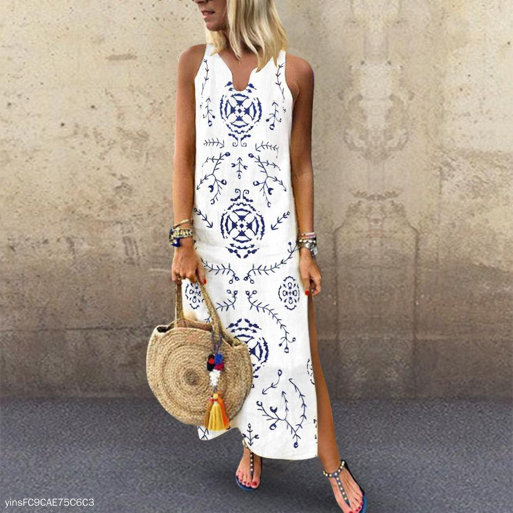 Casual V Collar Floral Printed Loose Maxi Dress Vintage Dress
