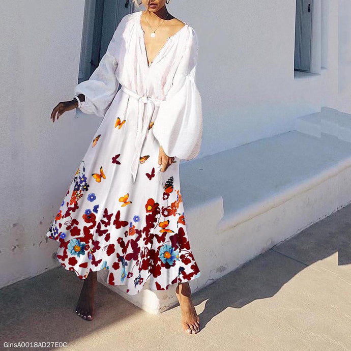 V-Neck Cotton/Linen Princess Sleeve Printed Maxi Dress Vintage Dress