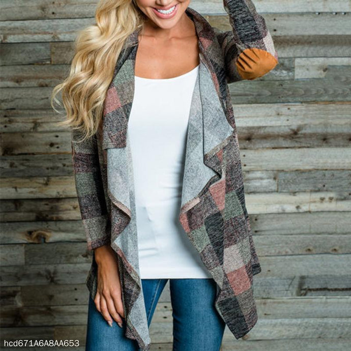 Fashion Plaid Irregular Cardigan