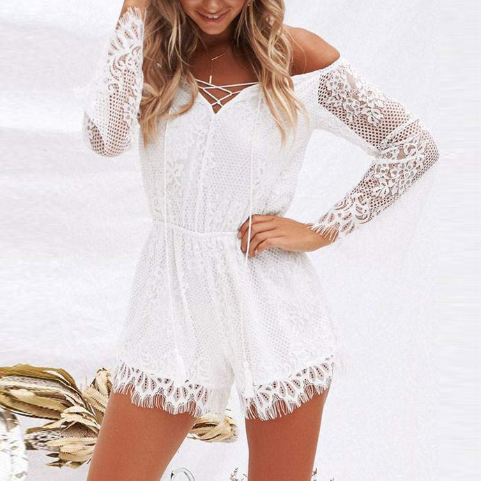 Sexy Off Shoulder Lace Long Sleeve Rompers