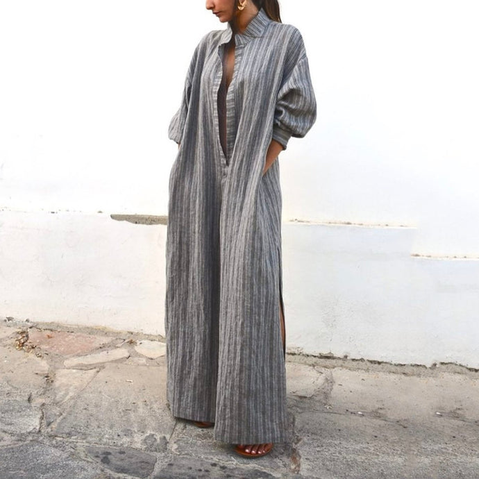 Sexy Stripe Long Sleeves Maxi Dress Vintage Dress