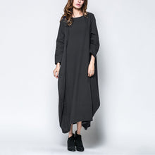 Load image into Gallery viewer, Fashion Solid Color Loose Maxi Vintage Dress