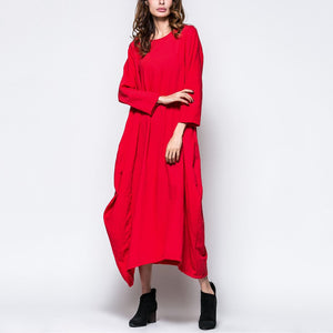 Fashion Solid Color Loose Maxi Vintage Dress