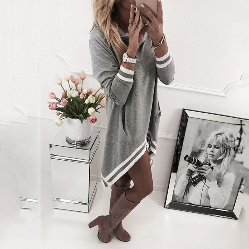 Casual Stripe Splice Loose Irregularity Dress