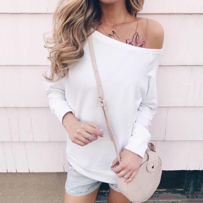 Fashion Solid Color Off Shoulder Loose Sweatshirts