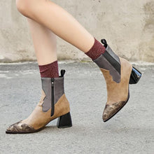 Load image into Gallery viewer, Leather Pointed Toe Patchwork Zipper Boots