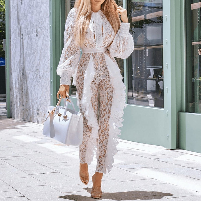 Fashion Lace-Embroidered Openwork Fungus  Jumpsuit