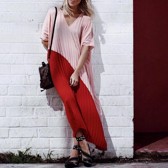 Short Sleeve Pleated Color Contrast Loose Maxi Dress